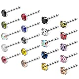 Ruifan 20PCS 18G 316L Surgical Steel 3mm Four Prong-set & Jeweled Mix Color Round Diamond Cubic Zirconia Crystal Nose Bone Studs Rings Piercing Jewelry