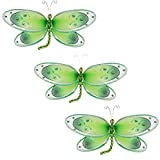 Hanging Dragonfly Decoration - Green 11'' x 5'', Set of 3 - Butterfly Grove - Nylon 3d wall ceiling bedroom nursery room wedding birthday party decor