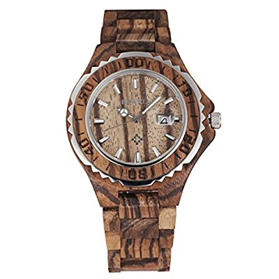 Tamlee Fashion Men's Quartz Analog Wooden Wristwatch with Date and Luminous Hand 30M Water Resistance