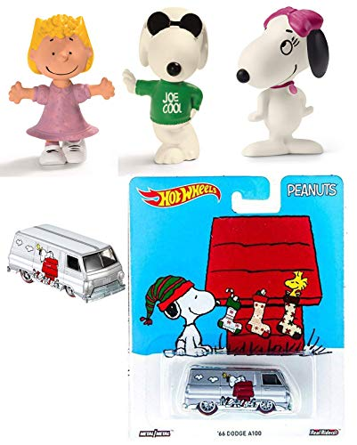 (All Your Base Oh So Cool! Mini Figures 3-Pack Peanuts Snoopy and Friends / Joe Cool & Sally & Belle + Bonus Hot Wheels Christmas Collectible Car Winter Scene with Woodstock)