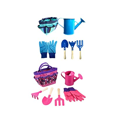 Exceart 2 Set Kids Gardening Tools Outdoor Gardening Toy with Carrying Bag Gloves Watering Kettle Rake Shovel (Pink, Blue Set): Toys & Games