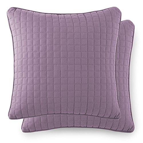 Southshore Fine Linens - VILANO SPRINGS - Pair of Quilted Pillow Sham Covers (No Inserts), 18'' x 18'', Lavender by Southshore Fine Living, Inc.
