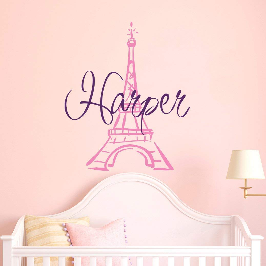 Eiffel Tower Wall Decal Name - Girls Name Decal. Girl Wall Vinyl Sticker Nursery Art Paris Nursery Personalized Name. Nursery Wall Decor F99