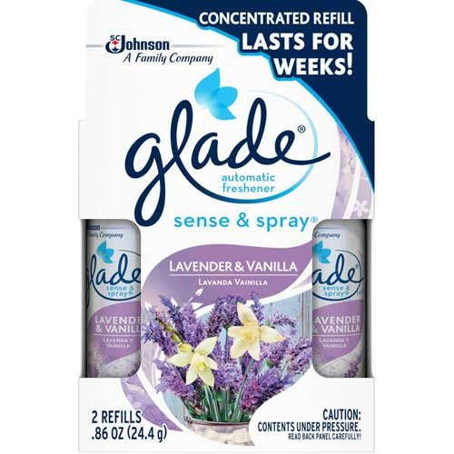 Glade Sense and Spray Twin Pack Lavender and Vanilla Automatic Freshener Refill, 0.86 Ounce - 6 per case.