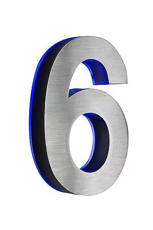 Número 6 en acero inoxidable 3D con CA, H18cm/180 mm LED ...