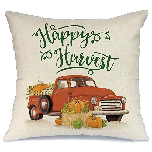 AENEY Fall Pumpkin and Truck Happy Harvest Throw Pillow Cover 18 x 18 for Couch Autumn