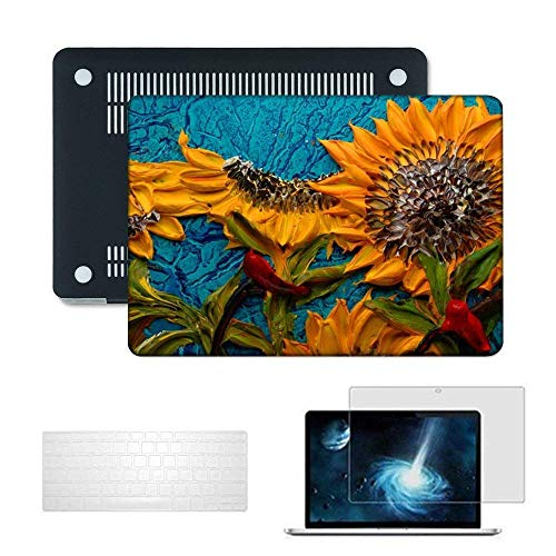 Case for MacBook Pro 13 Inch 2016 & 2017 Release A1706 / A1708, Plastic Hard Shell Cover with Keyboard Cover & Screen Protector, MacBook Pro with/Without Touch Bar Touch ID, Sunflower - Tobskby