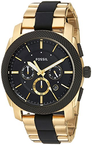 45mm Case Chronograph - Fossil Men's FS5261 Machine Chronograph Black Silicone and Gold-Tone Stainless Steel Watch