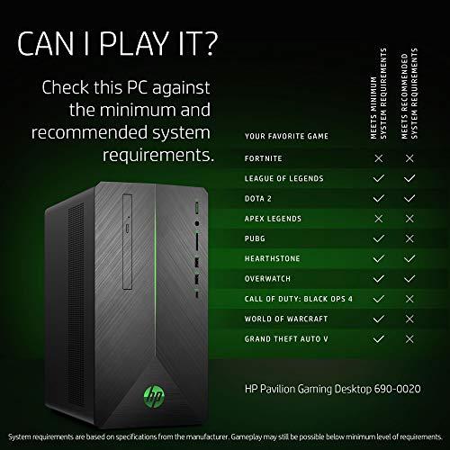 HP Pavilion Gaming PC Desktop Computer, AMD Ryzen 5 2400G, AMD Radeon RX  580, 8GB RAM, 1TB hard drive, Windows 10 (690-0020, Black)
