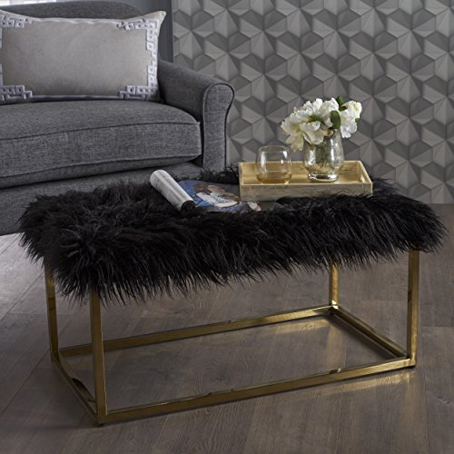 Glam Faux Furry Black Long Fur Ottoman with Gold Finish Stainless Steel Frame