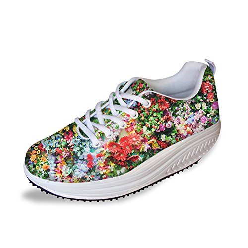 HUGS IDEA Sweety Style Flowers Mesh Wedges SHoes Platform Sneakers Floral 7 vrvkkS