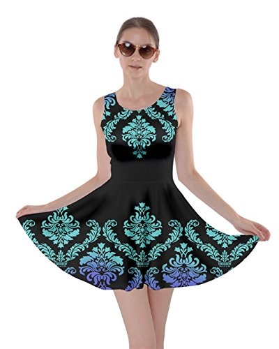 Damask Skater Womens XS 5XL Blue Floral CowCow Dress Oriental Damask Black White Arabesque aOnUHI