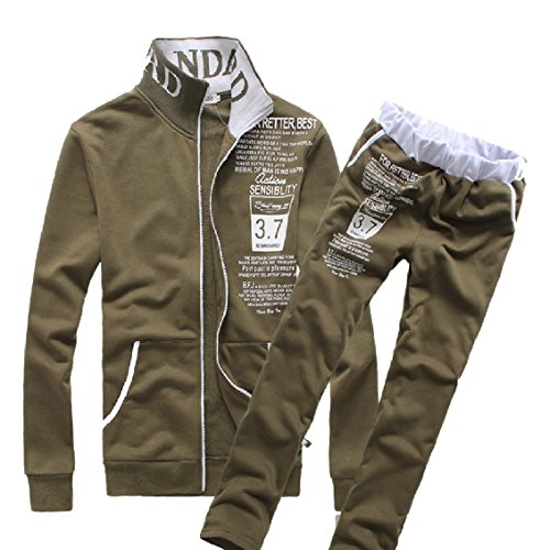 - Freely Men's Luxury Print with Zip Leisure Letter Tracksuit Set Army Green M