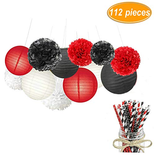 Sopeace 112 Pack White Red Black Tissue Pom Poms Flowers Paper Lanterns and Paper Drinking Straws for Mermaids Under the Sea Theme Bridal Shower Wedding Ball Party Supplies Decoration ()