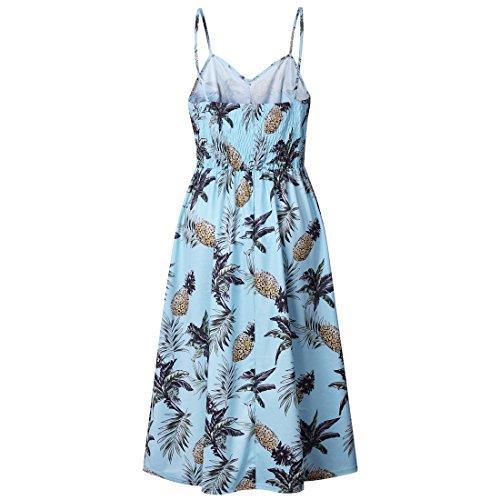 espagueti bohemio de bot verano de Vestidos floral mujer correa de 1wfU8wRgxq