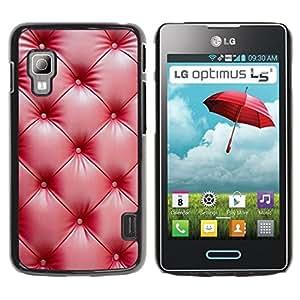 rígido protector delgado Shell Prima Delgada Casa Carcasa Funda Case Bandera Cover Armor para LG Optimus L5 II Dual E455 E460 -Red Leather Wrinkle Shiny-