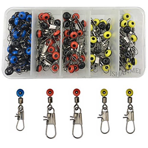 Snap Sinker (JSHANMEI 100pcs/box Fishing Line Sinker Slides Hook Shank Clip Connector Swivels Size Large/Medium/Small Color Red/Blue/Yellow Fishing Tackle Swivel Snap)