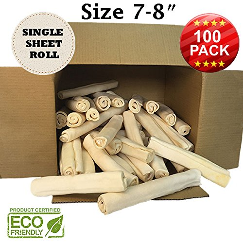 Premium Retriever Rolls - Size 7''-8'' - 100 Pack - 100% Natural - USDA/FDA Approved by Brazilian Pet