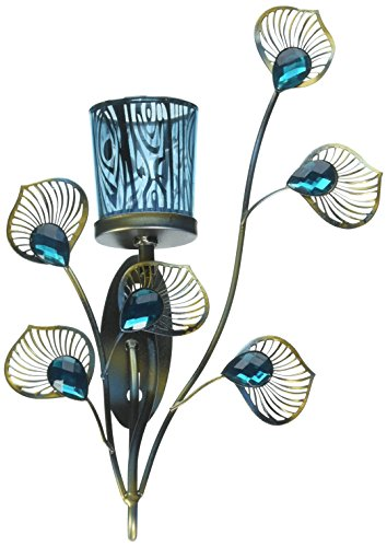 (Zings & Thingz 57073536 Peacock Feather Wall Sconce, Blue)