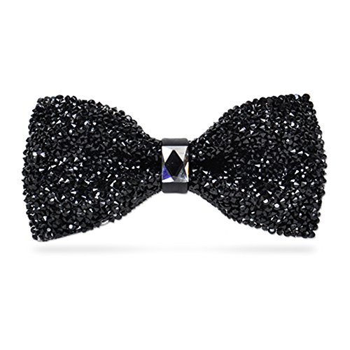 Orinery Glitter Rhinestone Bow Tie Adjustable Wedding Party Necktie (Black) -