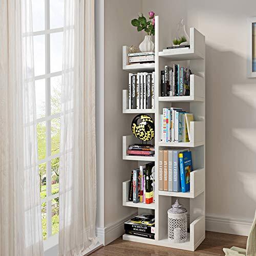 Shelves MEIDUO 10- Tire Shelf Bookshelf Wood Bookshelf Bookcase Stand Shelf for Living Room or Hallway Plant Shelf Flower Stand (Color : White)