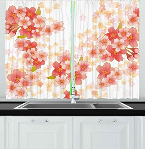 Ambesonne Floral Kitchen Curtains, Japanese Sakura Flowers Cherry Blossoms in Vibrant Colors Illustration, Window Drapes 2 Panels Set for Kitchen Cafe, 55 W X 39 L Inches, Coral Dark Coral Yellow