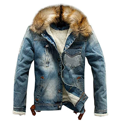 Nevera Men Autumn Winter Pocket Button Rinsing Flick Denim Hooded Jacket Top Coat on (Notched Collar Coat Fur)