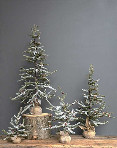 Snow & Pinecones Faux Fir Tree With Burlap Wrapped Base - 29.5in. - Set Of 3