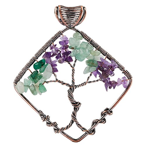 rockcloud Tree of Life Tumbled Stone Pendant Necklace Wire Wrapped Rhombus