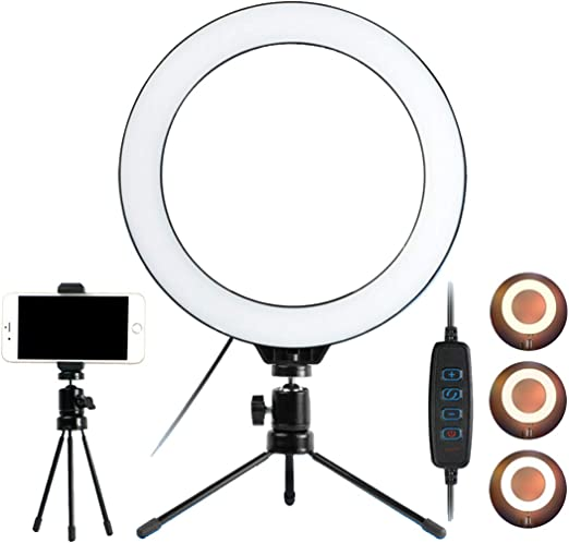 DLMPT 10 inch Selfie Ring Light Dimmable Adjustable Color Temperature and Brightness Ringlight Make Up Light for Photography Makeup Video Laptop YouTube