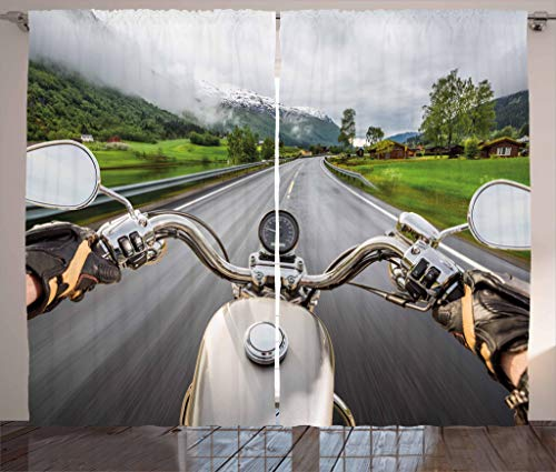 "Ambesonne Man Cave Curtains, Biker Rides Motorcycle on The Highway Lifestyle Speed Adventure Foggy Rural Area, Living Room Bedroom Window Drapes 2 Panel Set, 108"" X 84"", Grey"