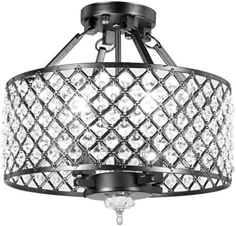 New Legend Lighting Antique Black Finish Round Shade Crystal Semi-Flush Mount Chandelier 4-Light Ceiling Fixture