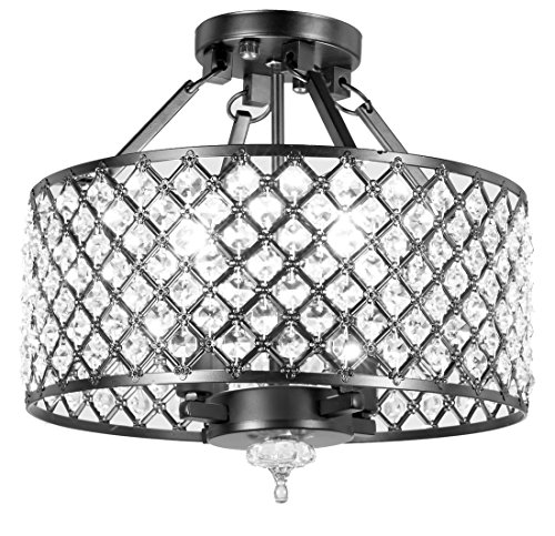 (New Legend Lighting Antique Black Finish Round Shade Crystal Semi-Flush Mount Chandelier 4-light Ceiling)