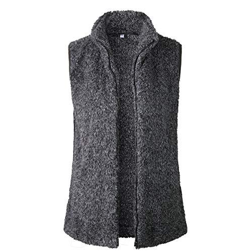 Coat Warm Vest Winter Shearling Faux Women Sherpa Jacket Black Fleece Fur up Zip Bqnvwa6R