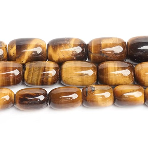 Chunky Tigers Eye - Genuine Eye of Tiger Gemstone 1318mm Chunky Barrel Connector Beads Material for Women Jewelry Making One Strand 15 Inch Apx 20 Pcs