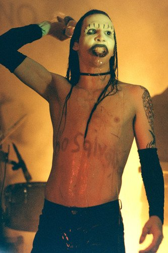 Marilyn Manson scary bare chested on stage 24x36 Poster