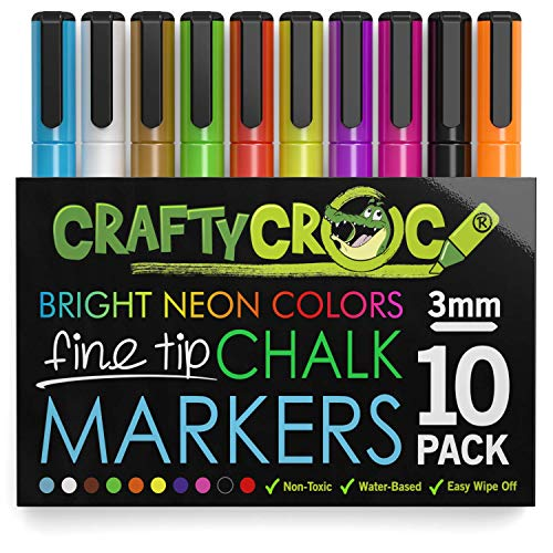 (Crafty Croc Fine Tip Chalk Markers - (Precise 3mm Tip, 10 Neon Colors) - Erasable Dustless Liquid Chalk Ink Pens, Water-Based, Non-Toxic)