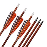 YLS 30 inch Turkey Feather Carbon Arrows Spine 400 Archery Arrows for Recurve Bow Screw In Tips(12pcs)