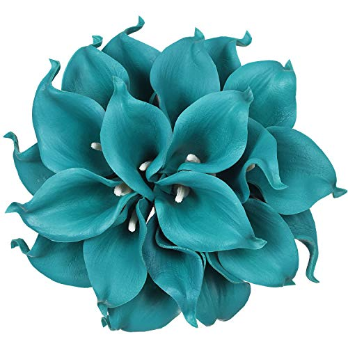 Artiflr 20pcs Calla Lily Bridal Wedding Bouquet Lataex Real Touch Artificial Flower Home Party Decor (Peacock ()