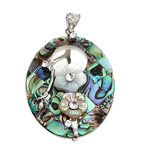 Rrunzfon Necklace Pendant Oval Hollow Flowers Paua Abalone Shell Pendant Bead Jewellery ()