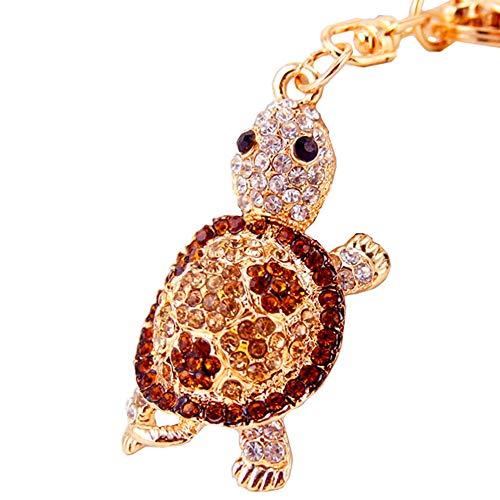 Cute Mini Turtle Sparkling Charm Blingbling Keychain Crystal Rhinestones Pendant (Gold)
