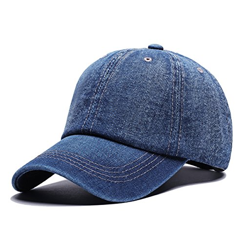 Angelsweet Unisex Casual Cotton Denim Baseball Cap Classic Jean Hat Plain Washed Sports Dad Hat Adjustable Polo Style Blue -