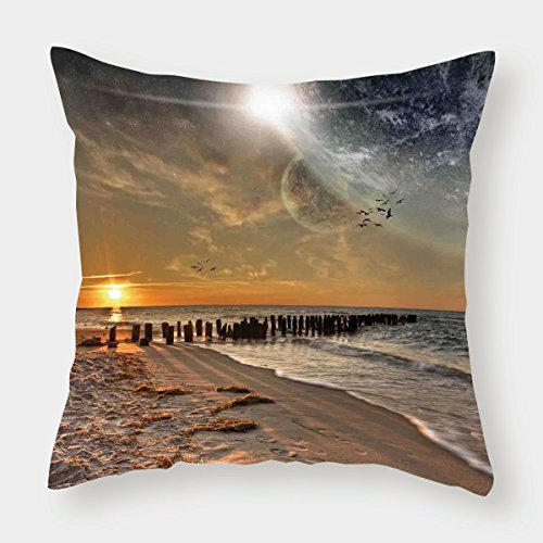 iPrint Cotton Linen Throw Pillow Cushion Cover,Space,Magical Solar Eclipse on Beach Ocean with Horizon Sun Moon Globe Gulls Flying View,Cream Orange,Decorative Square Accent Pillow Case by iPrint