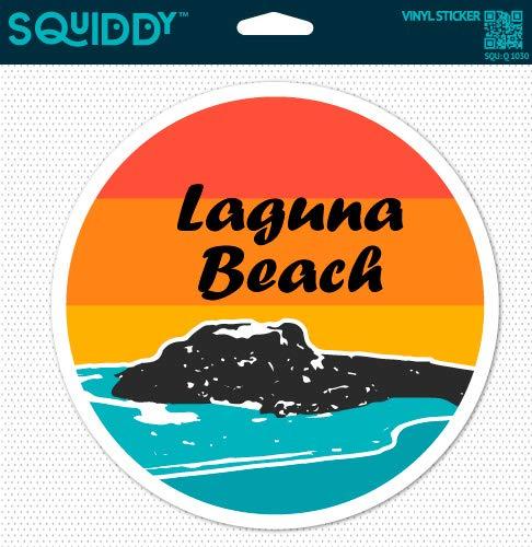 (Squiddy Laguna Beach Surf Ocean Round - Vinyl Sticker Decal for Phone, Laptop, Water Bottle (2.5