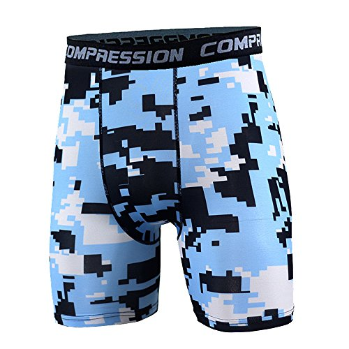 iPedo Men's Sports Compression Tight Camouflage Shorts Basketball Running Training Short Pants (XXXL, 9 Sky Blue Spot)