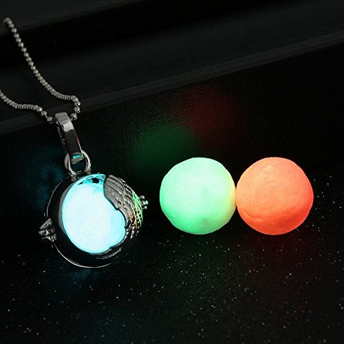 FM42 Openable Angel Wing Ball Locket with 3 Colors Glow in the Dark Balls Pendant Necklace GN1088 (2)
