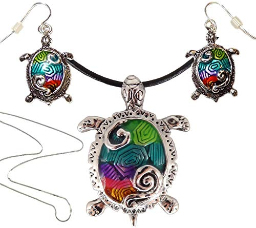 - DianaL Boutique Colorful Enameled Sea Turtle Pendant Necklace and Earrings Set on Black Cord with Free 18