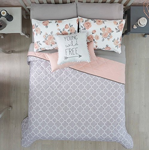 NEW FREE GRAY/PINK TEENS GIRLS REVERSIBLE COMFORTER SET 5 PCS QUEEN/FULL SIZE by JORGE'S HOME FASHION