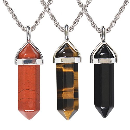 3pcs/Set Red Jasper + Tiger Eye + Black Agate Hexagonal Pointed Reiki Chakra Pendant Necklace 20