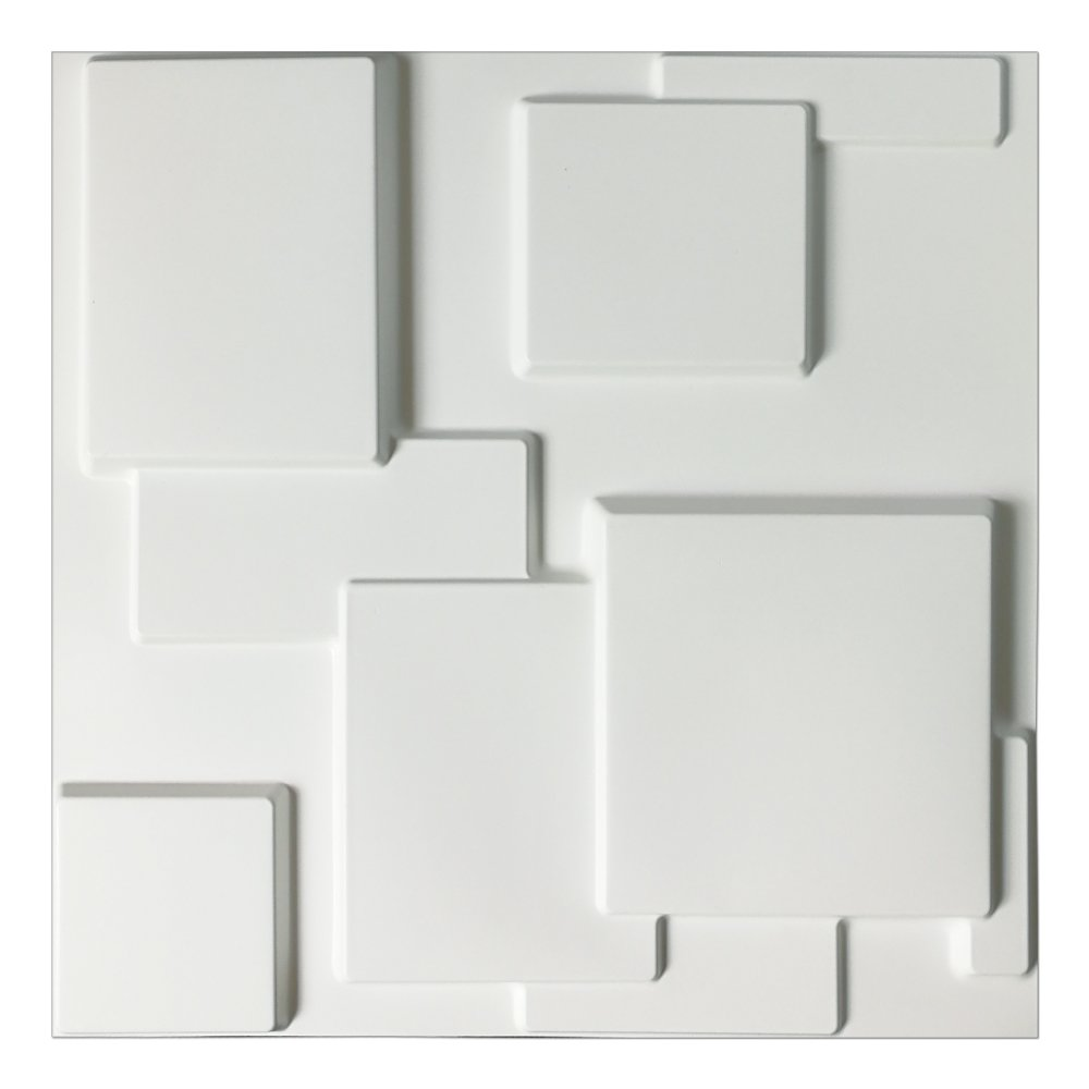 Art3d Decorative Tiles 3D Wall Panels for Modern Wall Decor, White, 12 Panels 32 Sq Ft A10033